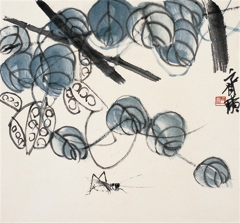 豆荚蟋蟀图 pease and cricket by qi baishi