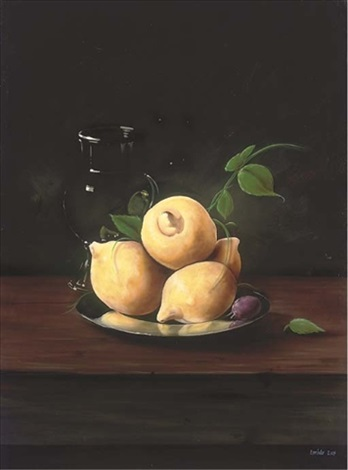 lemons and a plum on a silver platter with a glass jug to the side by paul karslake