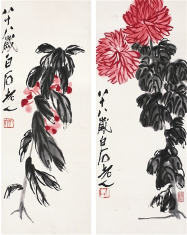 秋艳双品图 flowers 2 works by qi baishi