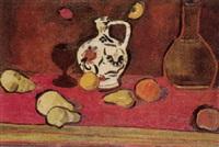 stilleben mit früchten und keramikkrug by rodolphe dunki
