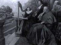 ein kardinal lauscht auf seiner veranda einer harfenspielerin by rudolf august hoeger