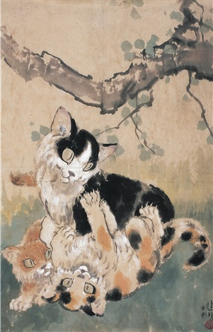 猫戏图 two cats playing by xu beihong