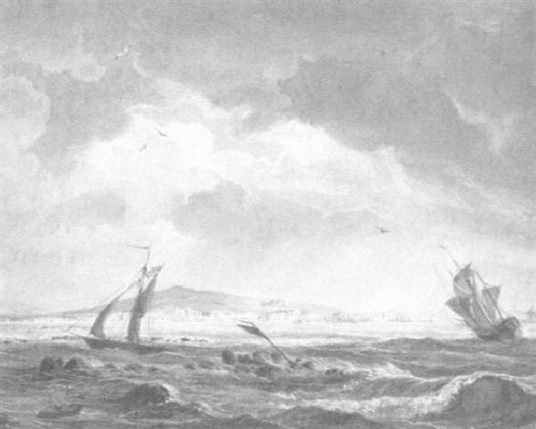 schiffe auf see vor einer sonnigen küstenlandschaft by ludwig franz karl bohnstedt