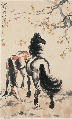 双马图 two horses by xu beihong