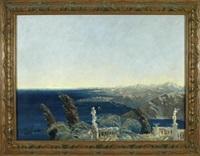 blick von einer terrasse mit skulpturen auf eine südländische küste by wilhelm von hillern-flinsch