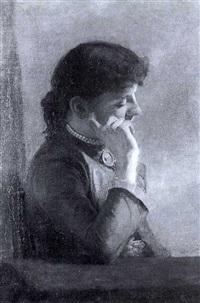 portrait einer jungen dame in blauem kleid by karl goll