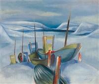 winterliche fjordlandschaft mit bunten fischerbooten by otto senning