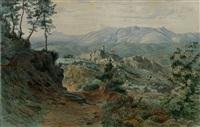 blick auf die malerische stadt mit dem apennin im hintergrund by franz leinecker