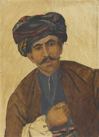 porträt eines kurden in traditioneller bekleidung by marcel amiguet