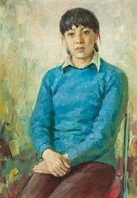 蓝衣少妇 by liu guoshu