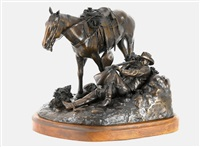 lagernder cowboy mit pferd by frank frederick polk