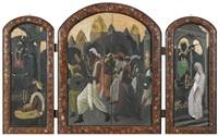 hinduistisches fest in srinagar. triptychon by marcel amiguet