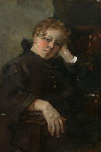 portrait einer jungen frau im schwarzen mantel by paul burmeister