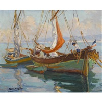 fischerboote an südlicher küste by marcel arnaud