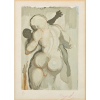 five in colors from the divine comedy series (framed separately) by salvador dalí