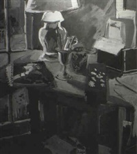 still life with yellow lamp #2 by geer morton