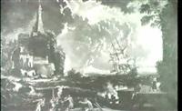 marine mit dreimaster in schwerer see vor sudlichem hafen. by jean antoine vernet