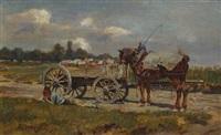 mittagsruhe vor dem pferdefuhrwerk by josef kaspar correggio