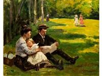 junge familie im grünen by louis charlot
