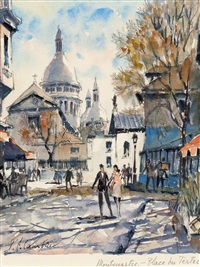 montmartre place du tertre (sold with 278b; set of 2) by pierre cambier