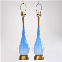 cased glass table lamps (pair) by seguso vetri d'arte (co.)