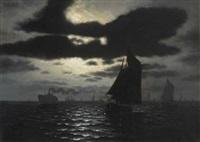 schiffe auf hoher see bei nacht by h. p. engmann