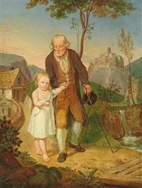 kleines mädchen führt den großvater über einen holzsteg by josef peschke