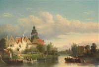 abendliche flusslandschaft mit übersetzendem boot und reizvoller architekturansicht mit zahlreichen figuren by gerardus post