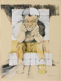 sitzender mann, den kopf auf seine hände gestützt (from appio) by erich smodics