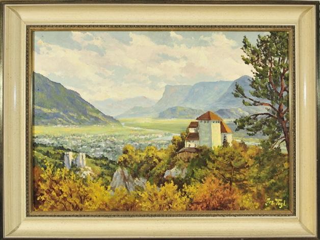 südtirol schloss lebenberg mit blick in eine weite herbstliche tallandschaft by josef vogl