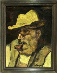 portrait eines pfeife rauchenden bauern mit hut by johannes hepperger