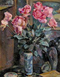 roses au vase de chine by alfred-henri blaile