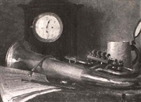 still life with wagner tuba, clock and stein by albert reich
