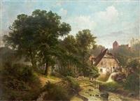 romantische mühlenlandschaft mit bach, früher kirche und prachtvollem waldstück an einem sommertag by gustav pflugradt
