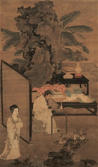 romantic garden (zhuo wenjin listening to the qin) by du jin