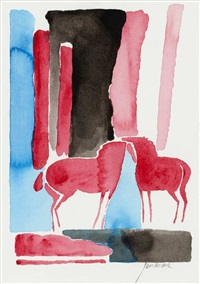 two red horses (sold with 280a&c; set of 3) by paul guiramand