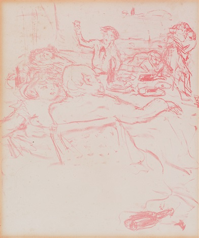 illustration no 18 zu paul verlaines parallèlement tischszene mit liebespaaren by pierre bonnard