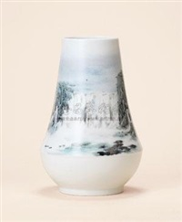 新彩风景瓶 (a porcelain vase) by qi ke