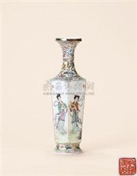粉彩仕女人物六方长颈瓶 (a famille-rose figure vase) by jiang gengshui