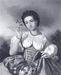 bildnis einer jungen frau in tracht mit rosen by bohumir lindaur