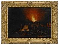 nattstycke - hus i brand by daniel vosmaer