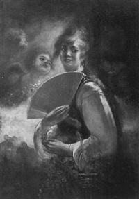 blumenmädchen mit fächer by heinrich maria staackmann