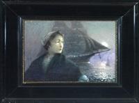 sehnsucht - brustbild einer frau, dahinter ein segelschiff bei vollmond by henri auguste lauwereyns de diepenhede