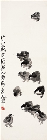 雏鸡图 chickens by qi baishi