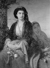 junge orientalische dame mit ihrer zofe by léopold guterbock