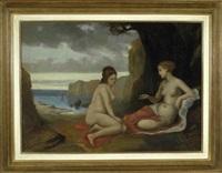 zwei sitzende, weibliche akte mit blick in eine meeresbucht by wilhelm von lindenschmit the younger