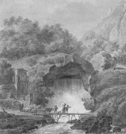 bauern mit vieh auf brücke vor grotte mit schäumendem wasserfall by johann philipp veith