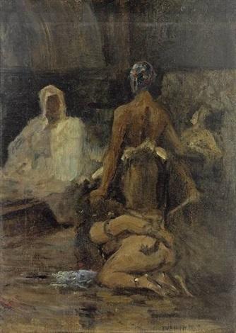 gefesselte sklavin wird einem scheich vorgeführt by carl leopold müller