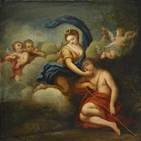 diana liggande på ett moln, vid hennes sida den sovande endymion omgiven av putti by giovan gioseffo dal sole