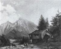 bauern und tiere vor der almhütte by julius abbiati